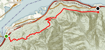 Gorge Trail 400 from Bridge of the Gods Trailhead to Wyeth Map