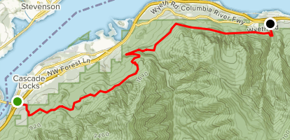 Gorge Trail 400 from Bridge of the Gods Trailhead to Wyeth (CLOSED) Map