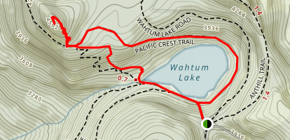 Wahtum Lake to Chinidere Mountain  Map