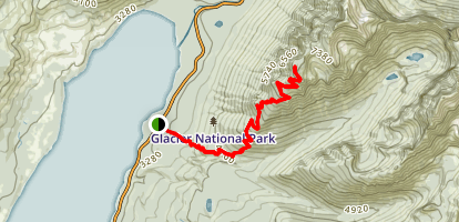 Mount Brown Lookout via Gunsight Pass Trail Map