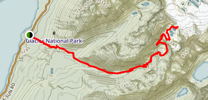 Comeau Pass Via Sperry Lake Trail  Map