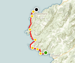 Tizzano Coastal Trail To Campomoro Map