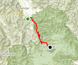 Mount Beauty to Falls Creek Map