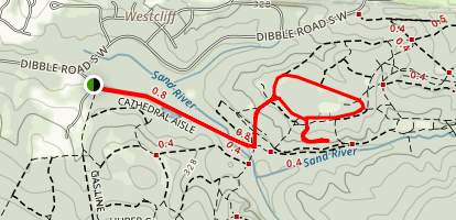 Cathedral Aisle to Ridge Mile Track and Lover's Lane Map