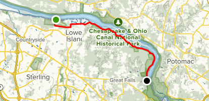 Potomac Heritage Trail: Algonkian Park to Great Falls Map