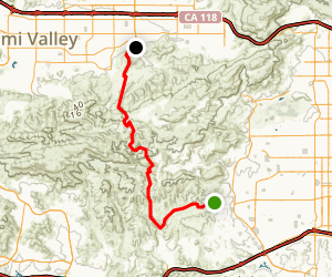 Victory Trailhead to Simi Valley via Simi Hills Map
