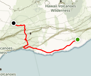 Puna Kau Trail to Halape Trail Map