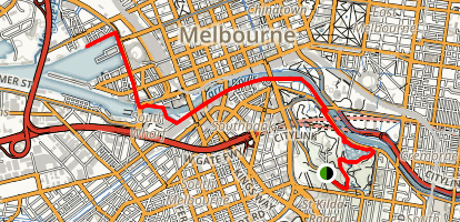 Royal Botanic Gardens to Docklands Map