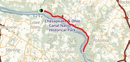C&O Canal Towpath: Rileys Lock to Swains Lock Map