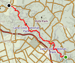 Great North Walk: Lane Cove to Thornleigh Map