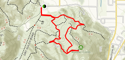 Dry Gulch South Ridge and Rooster Comb Loop Map