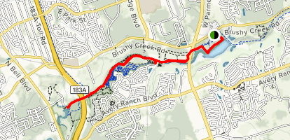 Brushy Creek Trail from Brushy Creek Lake Park Map