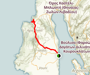 Kefalonia Biking to Petani Beach Map