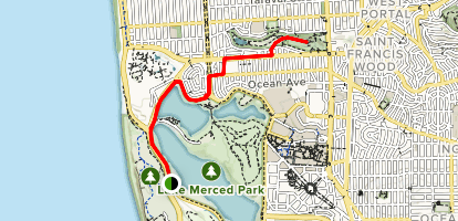 Fort Funston to Stern Grove Map
