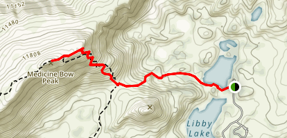 Lewis Lake Trail to Medicine Bow Map