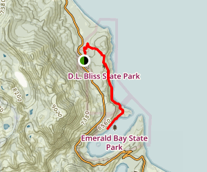 D.L. Bliss State Park to Emerald Bay State Park via Rubicon Trail Map