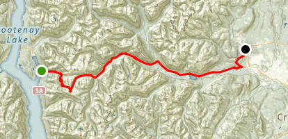 The Trans Canada Trail/Route Gray Creek to Kimberley Platzl Map