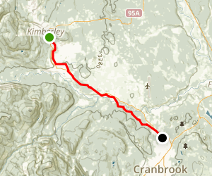 Kimberley to Cranbrook via Northstar Rails to Trails Map