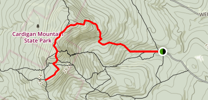 Manning Trail to Cardigan South Peak and Cardigan Rimrock Map
