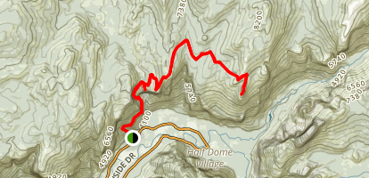 North Dome Trail via Upper Yosemite Falls Trail Map