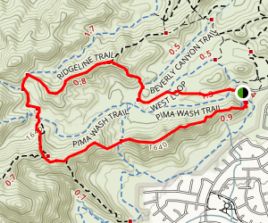 Pima Wash, Ridgeline and Marcos de Niza Trail Loop Map