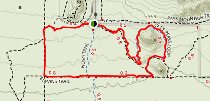 Blevins Trail and Cat Peaks Pass Map