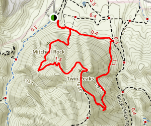 Mitchell Rock Trail to Counter Pines Trail Map