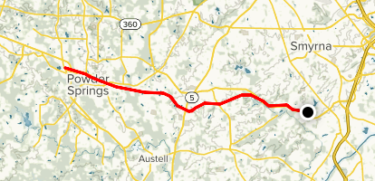 Silver Comet Trail: Gilmore to Powder Springs Map