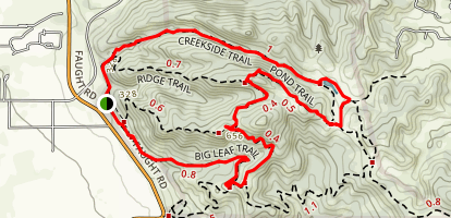 Creekside, Pond, and Big Leaf Trail Map