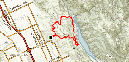 Harvey Bear, Calaveras, Coyote Ridge and Willow Springs Loop Map