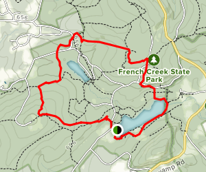 Hopewell Lake to French Creek State Park Loop Map