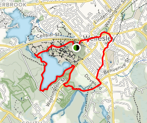 Wellesley College to Lake Waban to Fuller Brook Path Map