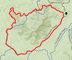 Rainbow Valley to Dysart Trail to Toothaker Trail Loop Map