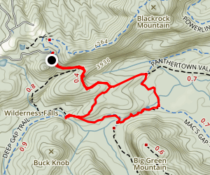 Panthertown Valley, Mac's Gap, Granny Burrell Falls and Deep Gap Loop  Map