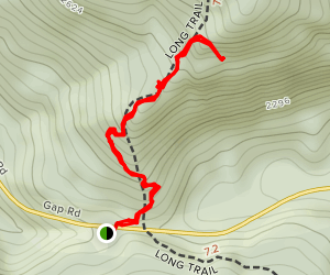 The Great Cliff via Long Trail Map