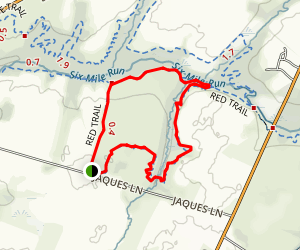 Six Mile Run: Red Trail and White Trail Loop Map