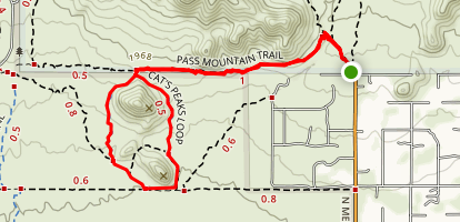 Pass Mountain Trail to Cat's Peaks Loop Map