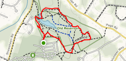 Orange and Blue Loop around Old Reservoir Map