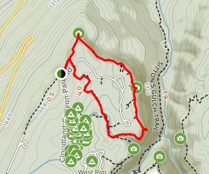 West Rim Loop Trail via Cloudland Canyon Park Road Map