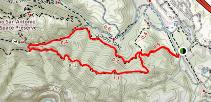 PG&E Trail, Wildcat Trail and Coyote Trail Loop Map