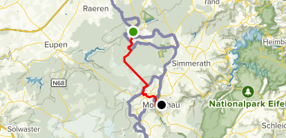 Eifelsteig Trail: Roetgen to Monschau Map