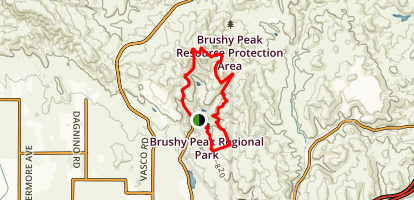 West Side Loop to Brushy Peak and Laughlin Loop Trail Map