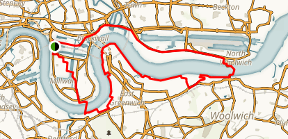 Greenwich Peninsula and River Thames Loop Map