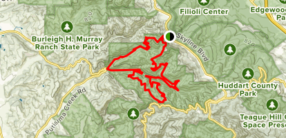 North Ridge, Whittemore Gulch, Purisima Creek, Borden Hatch Mill, Grabtown Gulch, Craig Britton and Harkins Ridge Loop Map