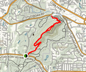 West Trail: Pigeon Hill to Kennesaw Mountain Visitor Center Map