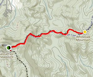 Sassafras Mountain to Whiteoak Mountain Map