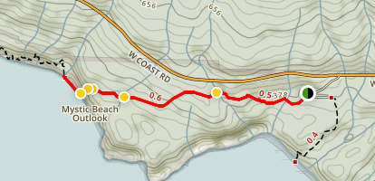 Juan De Fuca Marine Trail to Mystic Beach Outlook Map