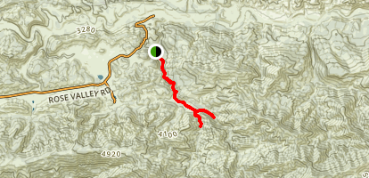 Lion Canyon Trail to Falls (CLOSED) Map
