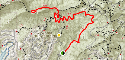 Hollywood Sign via Canyon Drive Map