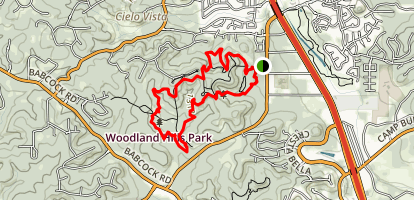 Friedrich Park to Woodland Hills Park Loop Map